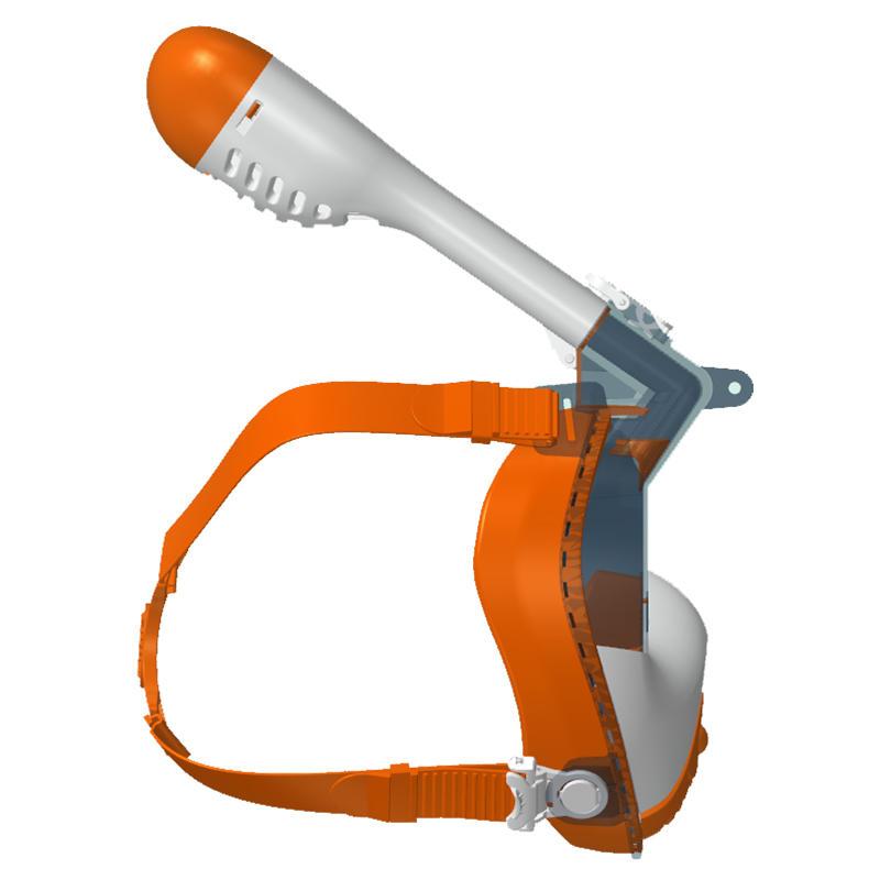 sFun new double layer one-piece kids full face snorkel mask K20 orange